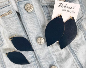 Navy Blue Textured Faux Leather Earrings