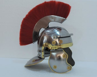 New Medieval Roman Centurion Helmet with thick red plume