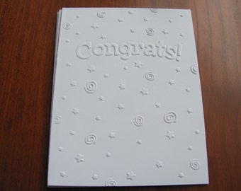 Graduation Card Set of 6, White Embossed Congrats Note Cards, Greeting Cards, Star Embossed Cards, Congratulations Cards
