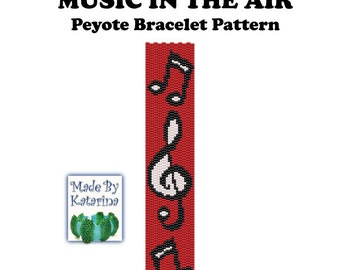 Peyote Pattern - Music in the Air - INSTANT DOWNLOAD PDF - Peyote Bracelet Pattern - Music Note Pattern - Treble Clef Pattern