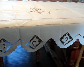 Beautiful Cutwork and Pulled Thread  Runner for Sideboard or Dining Room Table 32 X 41 Inches ECS SVFT