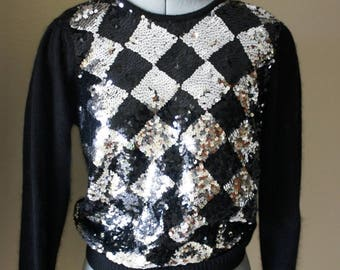 Le Chois Cashmere Black Silver Sequined Sweater- Checkerboard Squares, Size PL