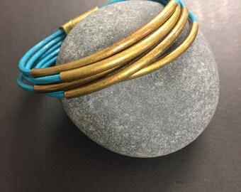 Leather Wrap Bracelet - Turquoise Leather Wrap Bracelet