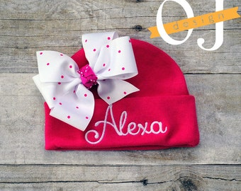 Personalized Baby Girl Hot Pink Name Hat - baby hat - infant hospital hat - embroidered - Newborn Hat - Pink Newborn Hat with Bow