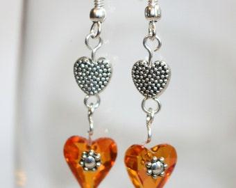 Heart Earrings, Dangle Heart Earrings, Pink Heart Earring, Swarovski Crystal Earrings, Double Heart Earrings, Silver Heart Earrings