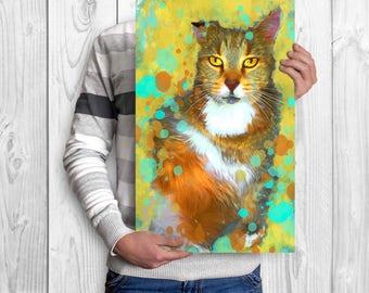 Cat portrait, Cat painting, Cat memorial, Cat illustration, Cat wall art, Cat lovers gift, Portrait from photo, Cat artwork, Cat lady gift