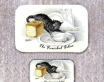 Famished cat tin SMALL,  Notions tin