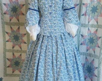 Blue Floral Print Civil War era Day Dress with Peplum Bodice - Petitie
