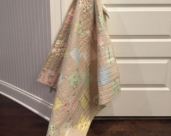 Homemade Baby Quilt ~ Patchwork Baby Quilt ~ Handmade Quilt ~ Girl Quilt ~ READY TO SHIP!