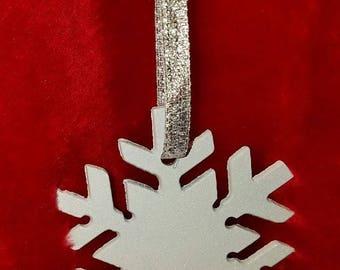 Glittered Snow Flake Ornament