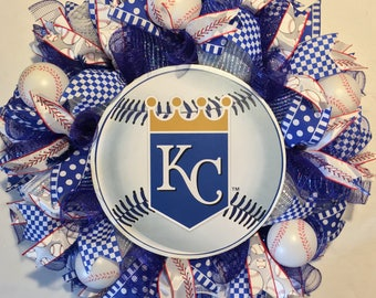 Kansas City Royals wreath, Royals wreath, Kansas City Royals decor, Royals decor, Royals baseball wreath, baseball wreath, Kansas City royal