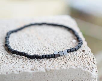 Matte bead bracelet mens bead bracelet mens bracelet matte black bead bracelet mens anklet
