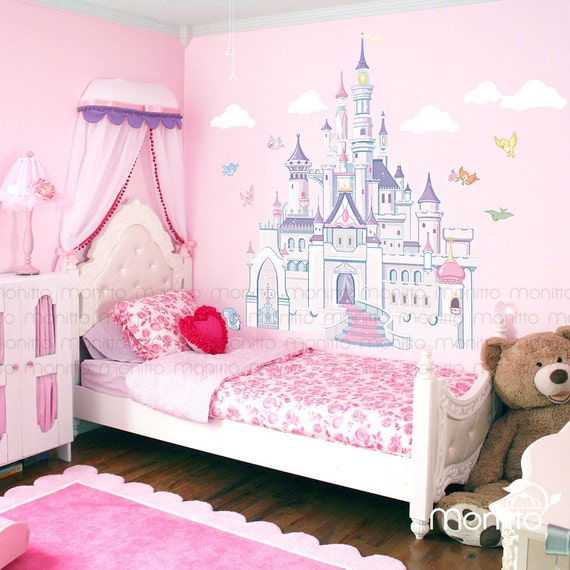 Colorful Kids Rooms: Disney Princess Castle With Colorful Birds And Squirrel-Large