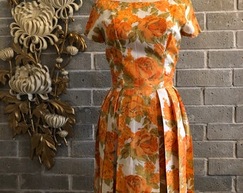 1950s dress vintage dress orange dress mad men dress size medium floral dress 29 waist summer dress rose print dress