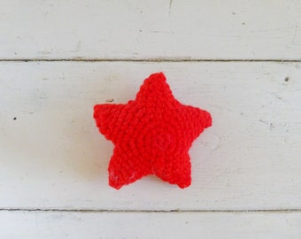 Amigurumi starfish, crochet star, red star, cute crochet, cute amigurumi, crochet amigurumi, bowl sitter, vase filler, bright colored