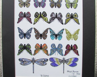 """New """"THE COLLECTION"""" Butterflies Dragonflies  Totem Art Print Limited Edition Signed and Numbered"""