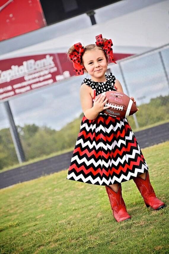 Girls Red, Black and White Game Day Dress  - Girls Georgia Bulldogs Dress -  Arkansas Razorback Dress - Arizona Game Dress -  Football Dress