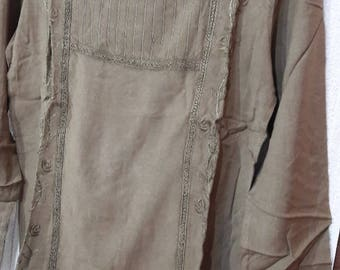 blouse, shirt  Bohemian design With embroidery. Light olive green color