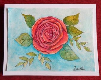 Rose Card Watercolor Rose Card Hand Painted Card Watercolor and Ink Rose Greeting Card Watercolor Cards Watercolors