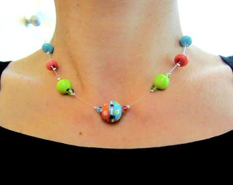 Necklace Choker blue, red and Green made from French blown glass beads