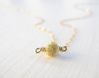Gold necklace, small gold ball necklace, gold filled chain, minimalist necklace, simple necklace, delicate modern jewelry - motekk