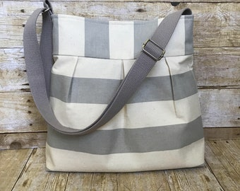 Striped Crossbody Bag / Pleated Purse with adjustable Strap - Grey and Cream Stripe Fabric with free keyfob