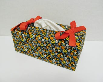 Tissue Box Cover/Orange Flower