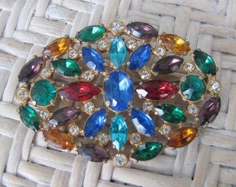 Vintage Rhinestone Brooch, Fruit Salad Pin, Faceted Multicolor Stones, Vintage Rhinestone Jewelry