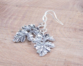 Oak Leaf Earrings - Fall Jewelry - Fall Leaves Jewelry - Antique Silver Leaves - Fall Fashion - Jewelry - Dangle Earrings - Dangle and Drop