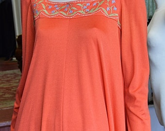 1970's Jean Varon, Tangerine Maxi Dress