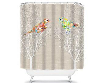 shower curtain, bathroom decor, beige shower curtain, home living bathroom accessories housewares mint shower curtain birds bath curtain