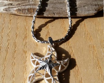 Vintage Sarah Coventry Star Necklace, Sturdy Silver Tone Chain
