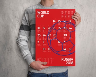 World Cup 2018 wall chart poster. Customizable World Cup wall chart. FAST SHIPPING