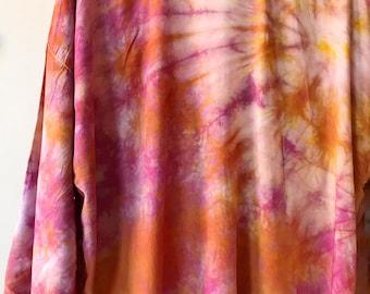 Hand Dyed Kimono Robe in Fire Opal , Tie Dye, Shibori, Rayon Bathrobe, Anna Joyce, Portland, OR.
