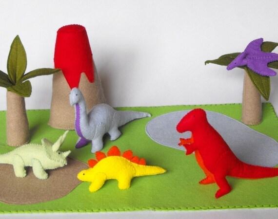 Felt Dinosaur Play Mat Tote Pdf Pattern Tyrannosaurus
