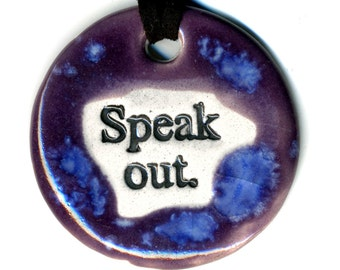 Speak Out Ceramic Necklace in Purple and Blue