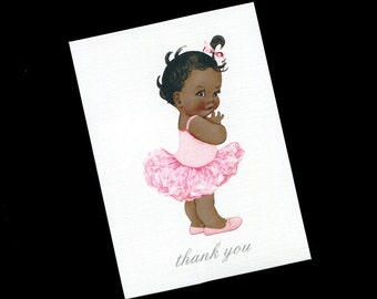 Baby Shower Thank You Cards - Baby Girl Thank You Cards - Blank - Note Cards - Baby Girl - Ballerina - Pink - Set of 20