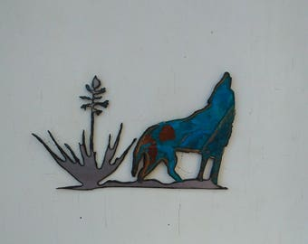 Patina Coyote Yucca Mini Sculpture