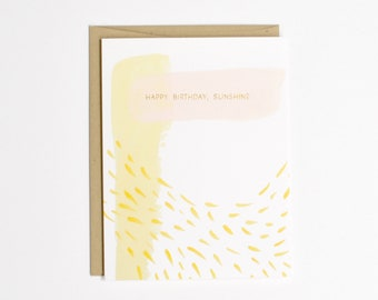 Gold Foil Birthday Card - Happy Birthday Sunshine - Simple Birthday Card
