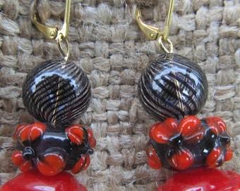 Handmade Black Striped Sphere And Red Flowered Pierced Earrings, Handmade By Susan Every OOAK