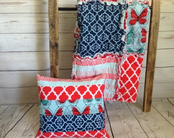 Geometric Red and Turquoise Pillow Cover - Red, Turquoise and Navy - Butterflies and Quatrefoil - 12x12