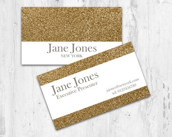 Presenter Business Card Design-Gold, Glitter, PDF business card. Printable