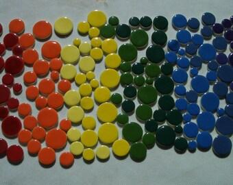 200RBD - 200 pc RAINBOW DOTS - Ceramic Mosaic Tiles