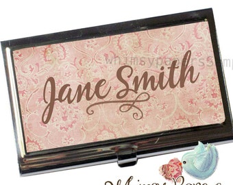 Pnk Damask Business Card Holder - Personalized FREE!