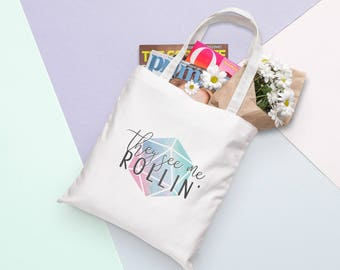 D20 Canvas Tote Bag - They See Me Rollin  | Dungeons and Dragons, D&D, Nerd, Geek, Gaming, RPG, Gamer, DnD, Girl