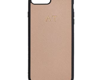 NEW PERSONALISED MONOGRAMMED iPhone 7 Saffiano Leather Cover Case Taupe