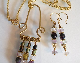 Plum, Olive, and Rose Agate and Brass Necklace and Earrings Set Handmade
