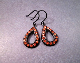 Art Deco Style Drop Earrings, Tangerine Glass Stones, Gunmetal Silver Dangle Earrings, FREE Shipping U.S.