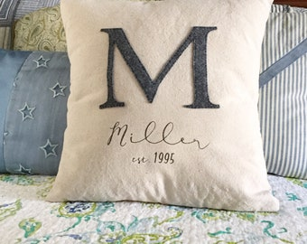 Custom Wedding Date Pillow, Custom Initial Pillow, Engagement gifts for couple, Personalized Couple Gift