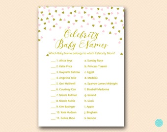 Pink and Gold Baby Shower Games, celebrity baby name game, Celebrity Baby Name, celebrity moms, Baby Shower Games, Baby Shower Games TLC488P